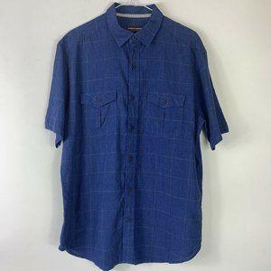 Johnston & Murphy Sz L S/S Button Up Blue Shirt